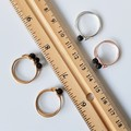 Simple small Black Lava Round Beaded loop wire rings , Gold Silver Rose gold