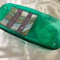 Green and multi colour glass tray plate