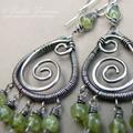 OOAK Silver and Peridot Wrapped Spiral Chandelier Earrings