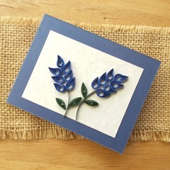 Quilled Small Blank Card Blue Flowers