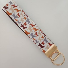 Brown dog breeds key fob wristlet