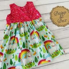 Unicorns Tea Party Dress, Size 1 or 2, Girls Dresses