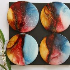 Ink Art resin coasters; homewares - set of 4