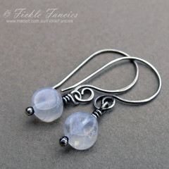 Spiralled Silver and Rainbow Moonstone Earrings