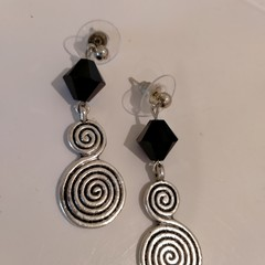 Black Swarovski Crystal and Silver Charm Earrings