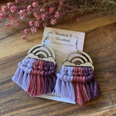 Rainbow rose and purple macrame earrings