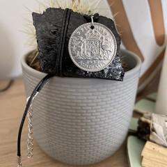 "1947 Australian Charm Necklace . 17"" waxed cord"
