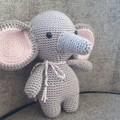 """Ellie"" The Elephant Toy, Crochet Elephant Softie, Elephant Amigurumi"