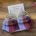 Rainbow rose and purple macrame earrings