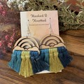 Rainbow blue and yellow macrame earrings