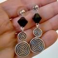 Black Swarovski Crystal and Silver Charm Earrings