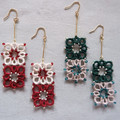 Two-colour tatting lace earrings with beads