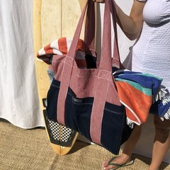Jumbo Beach bag made from Upcycled jeans and assorted vintage dark denims .
