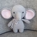 """Ellie"" The Elephant Toy, Crochet Elephant Softie, Elephant Amigurumi"