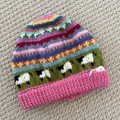 Pink sheep Beanie - to fit size 4-8 years -hand knitted