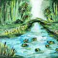 'Secret Garden' original acrylic fantasy landscape painting on Canvas