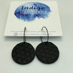 Black Textured Polymer Clay Dangle Earrings #18