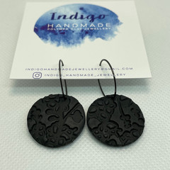 Black Textured Polymer Clay Dangle Earrings #5