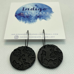 Black Textured Polymer Clay Dangle Earrings #19