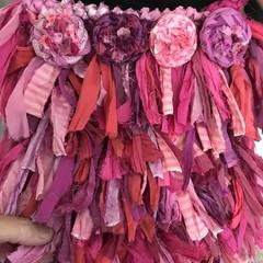 Recycled silk boho Pink flower rag bag