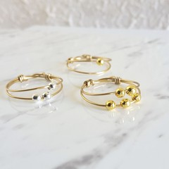 Anxiety beaded thin double band gold wire ring , Stacking Thumb Pinky Midi ring