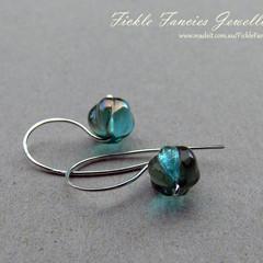 Simply Hooked Aqua Czech Glass Earrings