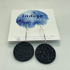Navy Textured Polymer Clay Dangle Earrings #6