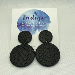 Black Textured Polymer Clay Dangle Earrings #13