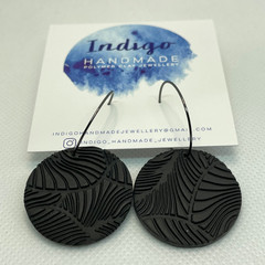 Black Textured Polymer Clay Dangle Earrings #17