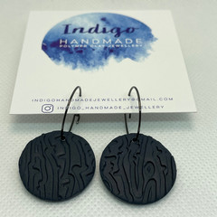 Navy Textured Polymer Clay Dangle Earrings #8