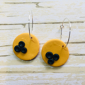 The C A R O L Mustard with Navy Dots Round Dangles
