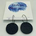Navy Textured Polymer Clay Dangle Earrings #22