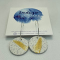White Granite with Gold Accent Polymer Clay Dangle Earrings #10