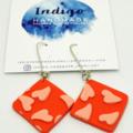 Orange and Apricot Hearts Dangle Earrings