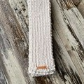 Beige merino long straight winter scarf hand knitted wool