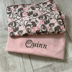 Personalised baby blanket, pram blanket, fabric choices