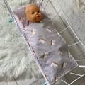 Dolls bedding, pram or cradle bedding, quilt pillow set, unicorns