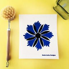 Cornflower - hand printed Swedish Dishcloth