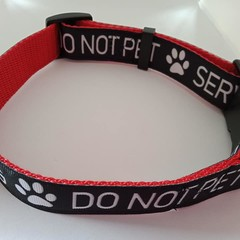 """Black white and red """" Do not pet - Service Dog"""" print adjustable dog collars"""