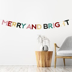 Merry Bright Paper Garland 2.4m long | Paper Decoration | Christmas Garland