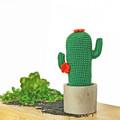 Crochet Cactus with Orange Flowers in Cement Pot