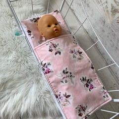 Dolls bedding, pram or cradle bedding, quilt pillow set, floral