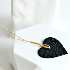 Black Glitter Heart Tags {10} | Heart Tags | Glitter Tags | Heart Tags