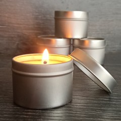Natural beeswax candles in round silver tin with clear lid. 3 candle gift  set.
