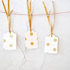 White Gold Dot Tags {5w raffia ties} | Gold Dot Retro Tags | Gold Dot Tags