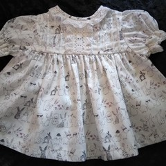 """BABIES DRESS Size 3-6 mths. """"ALL THE BUNNIES"""" pure cotton printed fabric."""