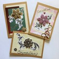 Set of Three Blank Cards with Art Nouveau Flowers