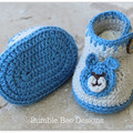 Crochet Cotton Baby Romper, Crochet Teddy Bear Baby Booties 0-3 months