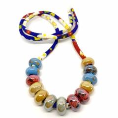 Speckled Egg Ceramic Beads on Kimono Cord