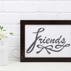 Instant Printable Art FRIEND Dark Grey Textured Lettering